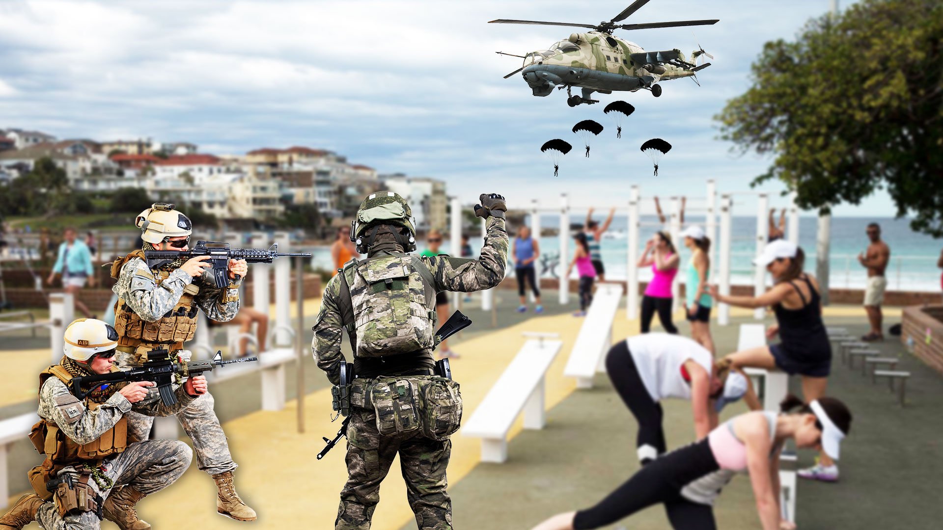 Army Launch Surprise Attack On Bondi Beach Outdoor Gym, Targeting Groups Larger Than Two